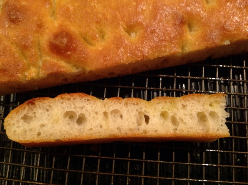 A no-frills focaccia: sought-after irregular hole structure