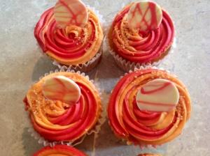 Orange & rhubarb cupcakes