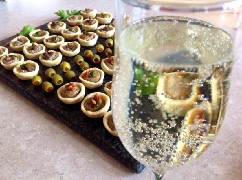 Canapés: wild mushroom; smoked aubergine