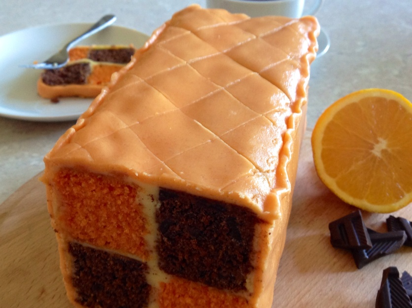 Chocolate & orange battenberg