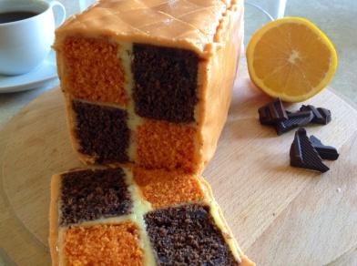Chocolate and orange Battenberg