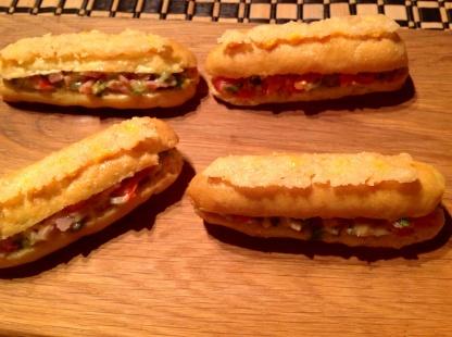 Gluten-free savoury BLT éclairs