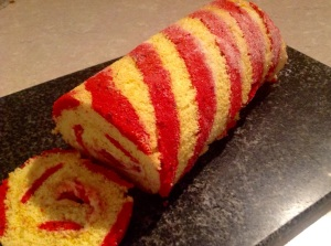 Gluten-free passionfruit & raspberry swiss roll