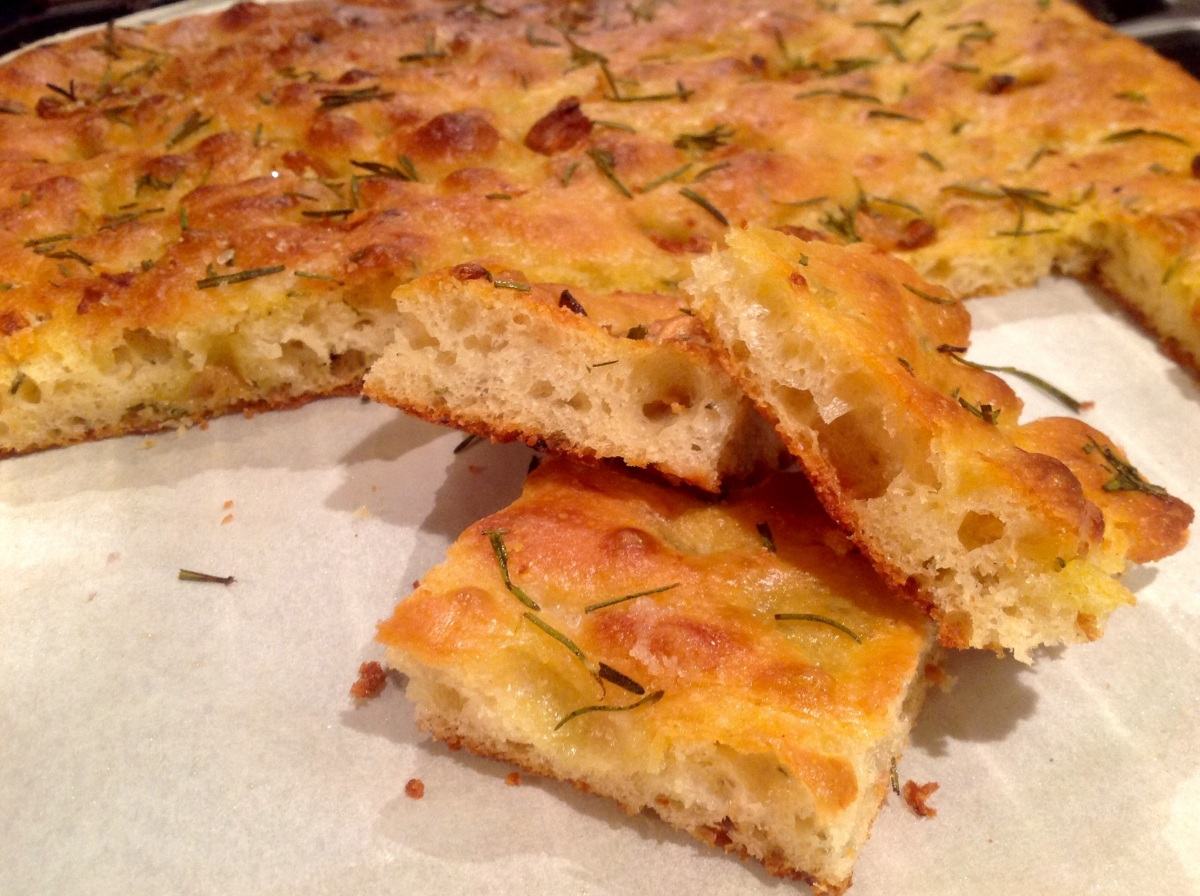 Roasted garlic, rosemary and Parmesan focaccia