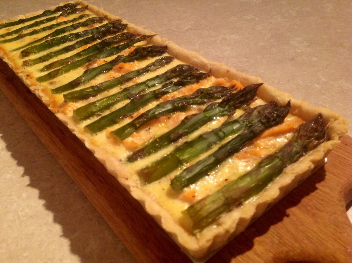 Poached Salmon & AsparagusTart