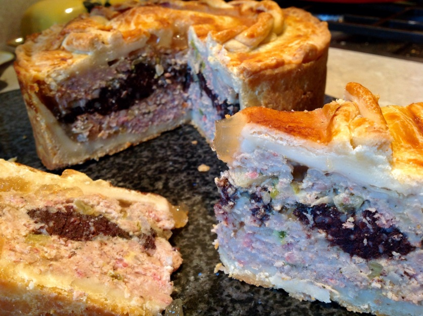 Piccalilli & black pudding pork pie with cider jelly