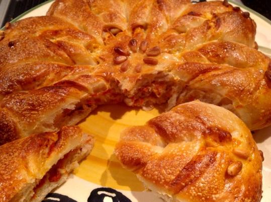 "Roasted pepper & parmesan bread ""flower"""