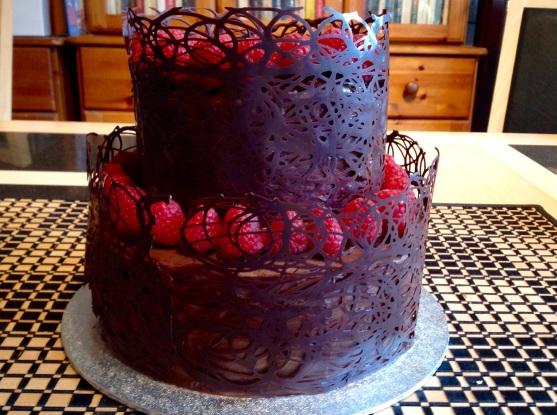 Chocolate & raspberry celebration cake