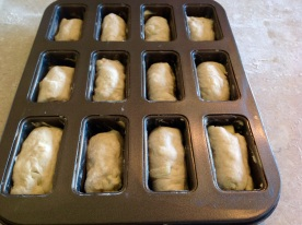 (IV) Pop into mini loaf tins, prove & bake