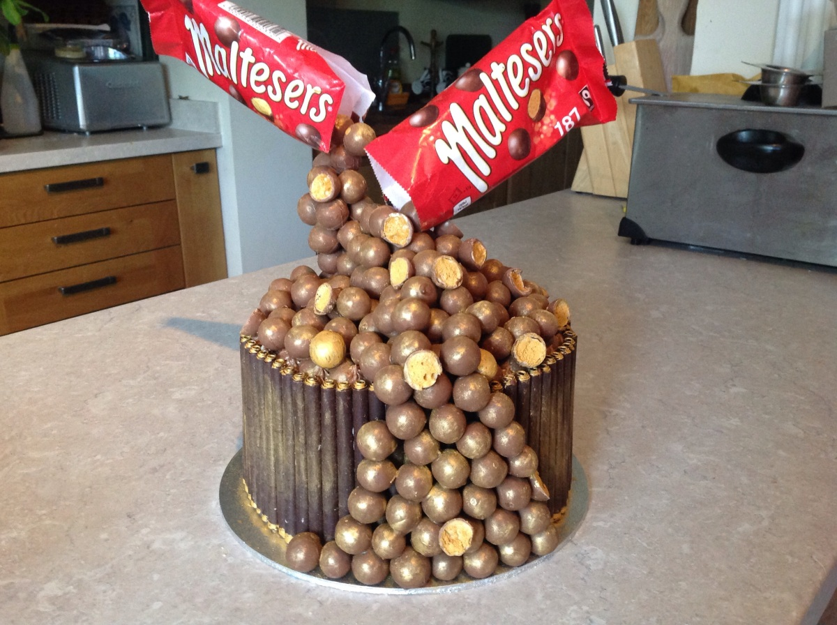 Floating maltesers Cake with salted caramel ganache