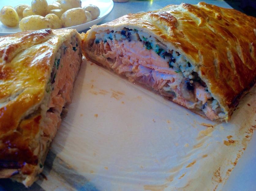 salmon & mushroom coulibiac