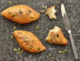 multi-grain bread rolls with smoked flour