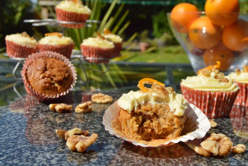 Carrot & walnut muffins