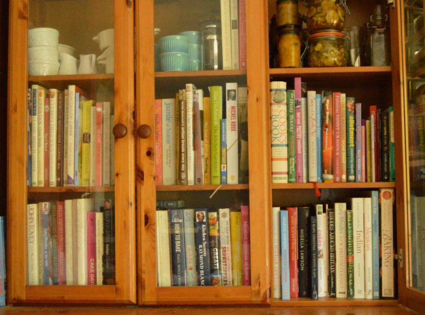 one of my book cabinets: I cannot stop buying food books!