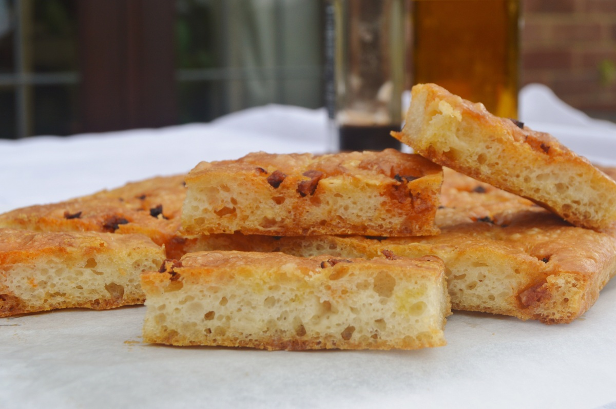 An insanely simple no-knead Chorizo & Parmesan focaccia