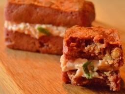 mini beetroot bread sandwiches