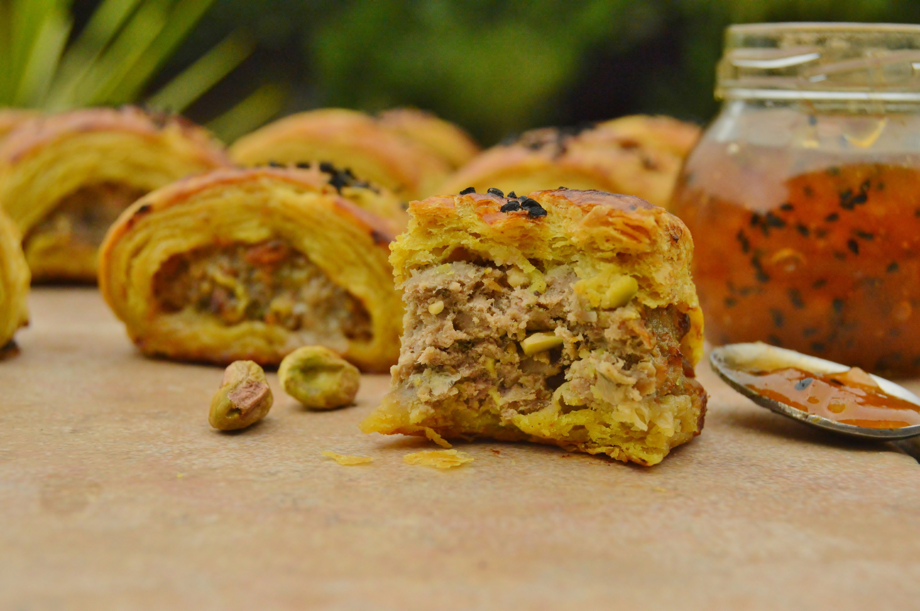 Spiced lamb pistachio rolls with spiced pastry baking for Pastry canape fillings