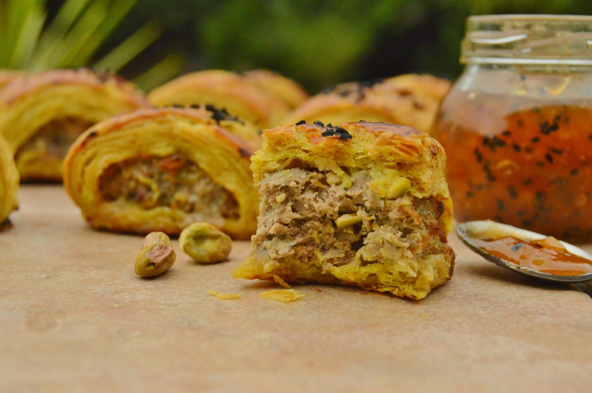 Spiced lamb & pistachio rolls with spiced pastry