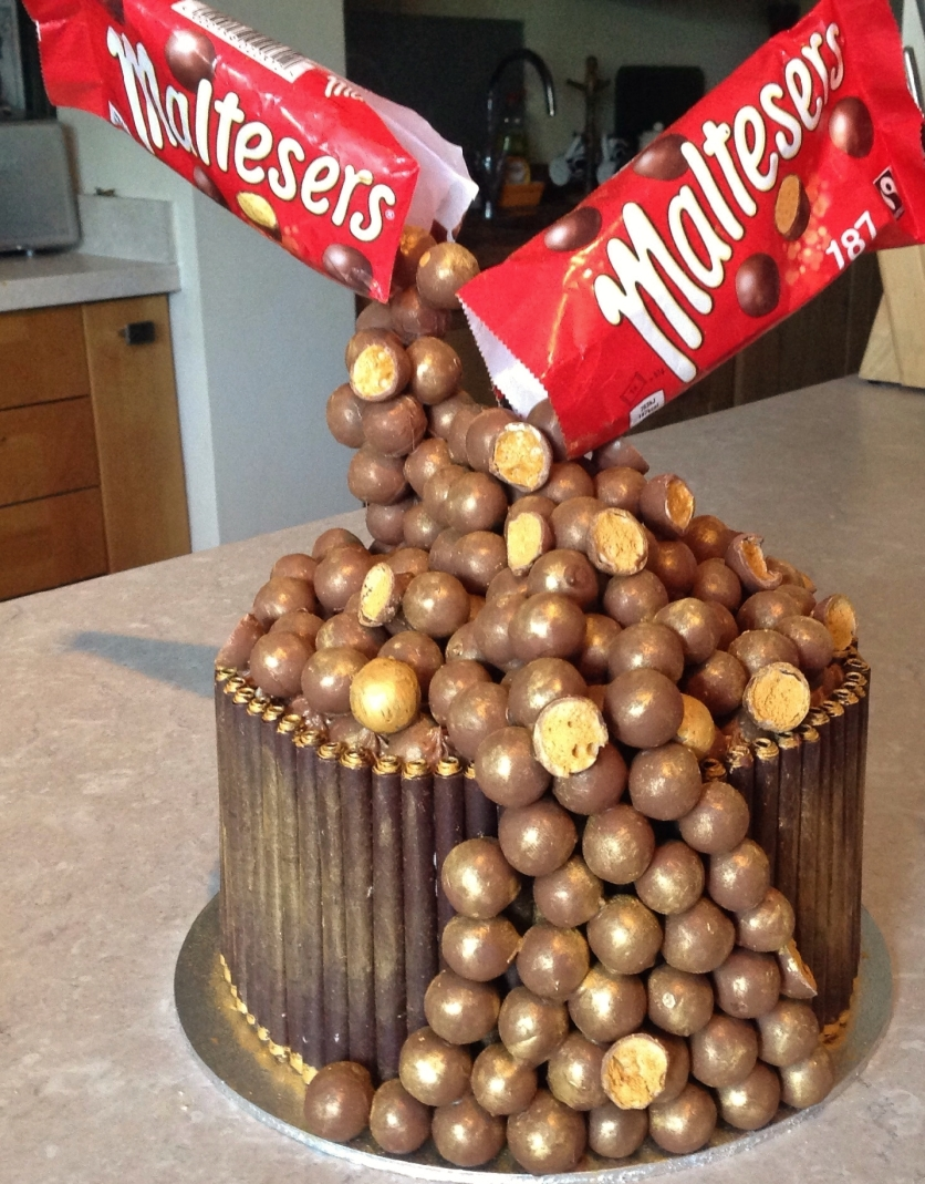 Floating Maltesers cake with salted caramel ganache for sixth formers