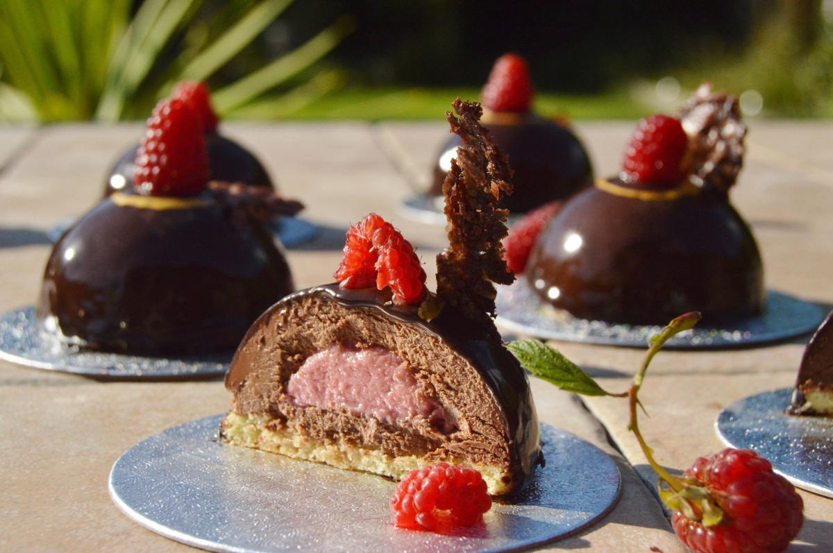 Raspberry & dark chocolate mousse domes