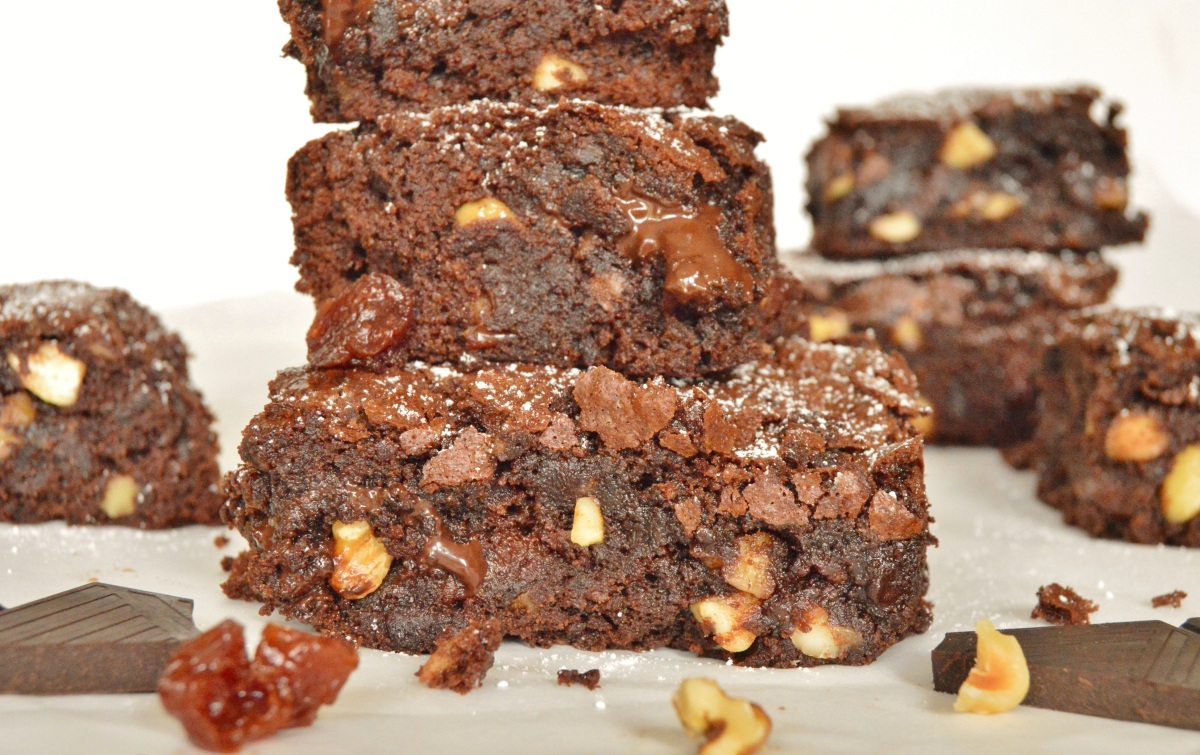 Very easy cherry & chocolate brownies