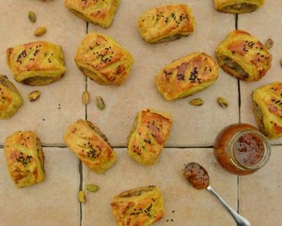 spiced lamb & pistachio rolls