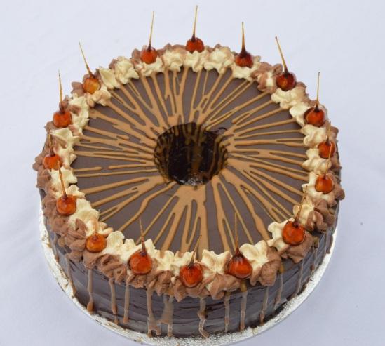 Mocha & salted caramel Angel food cake