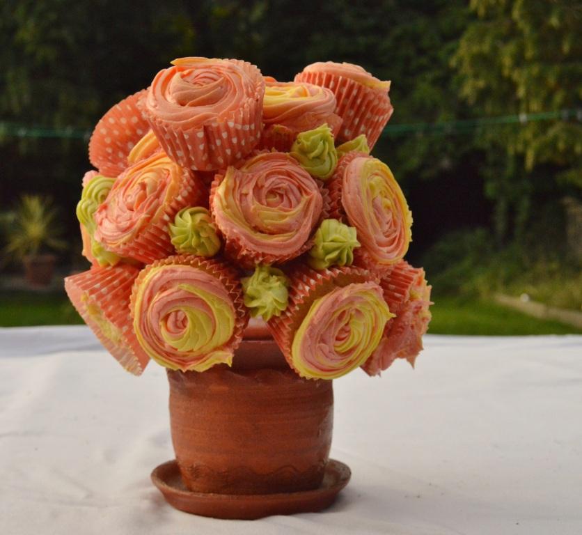 a practice cupcake flower pot