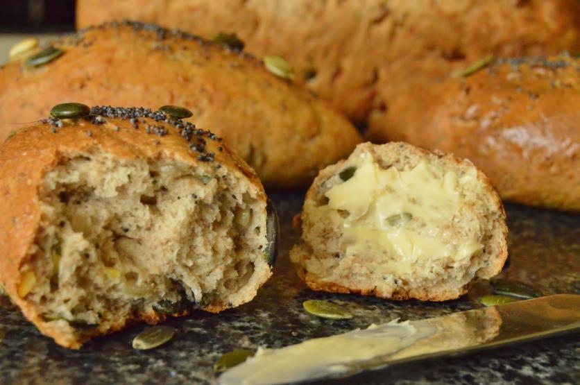 multi-grain bread, using a preferment
