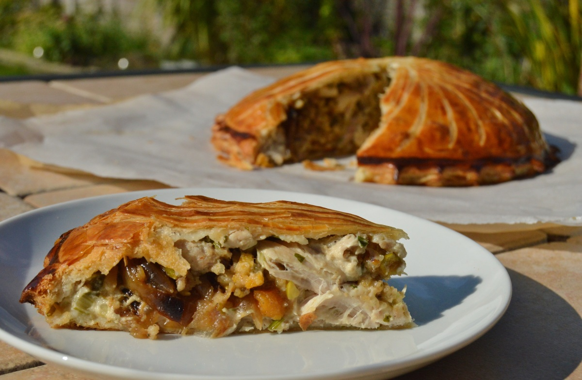 chicken, tarragon & roasted onion pithivier: a feast using left-overs!