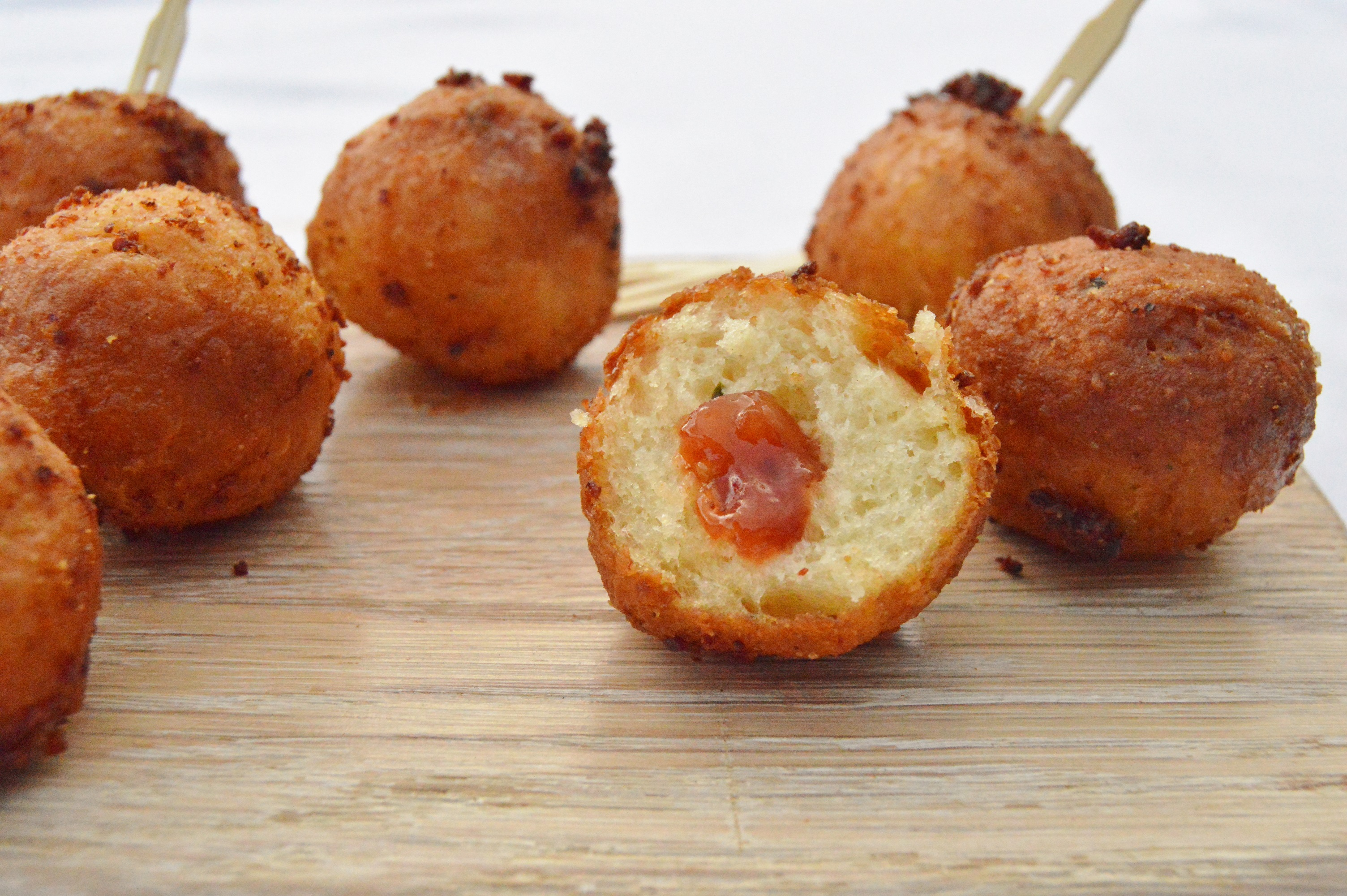 Mini savoury doughnuts with a red pepper chutney filling for Canape fillings