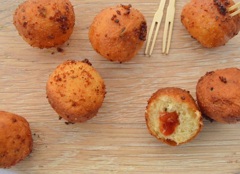 savoury doughnuts with a red pepper chutney filling