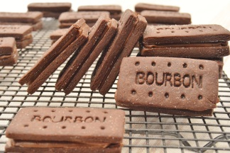 Home-made Bourbon biscuits with caramelised sugar & mocha ganache