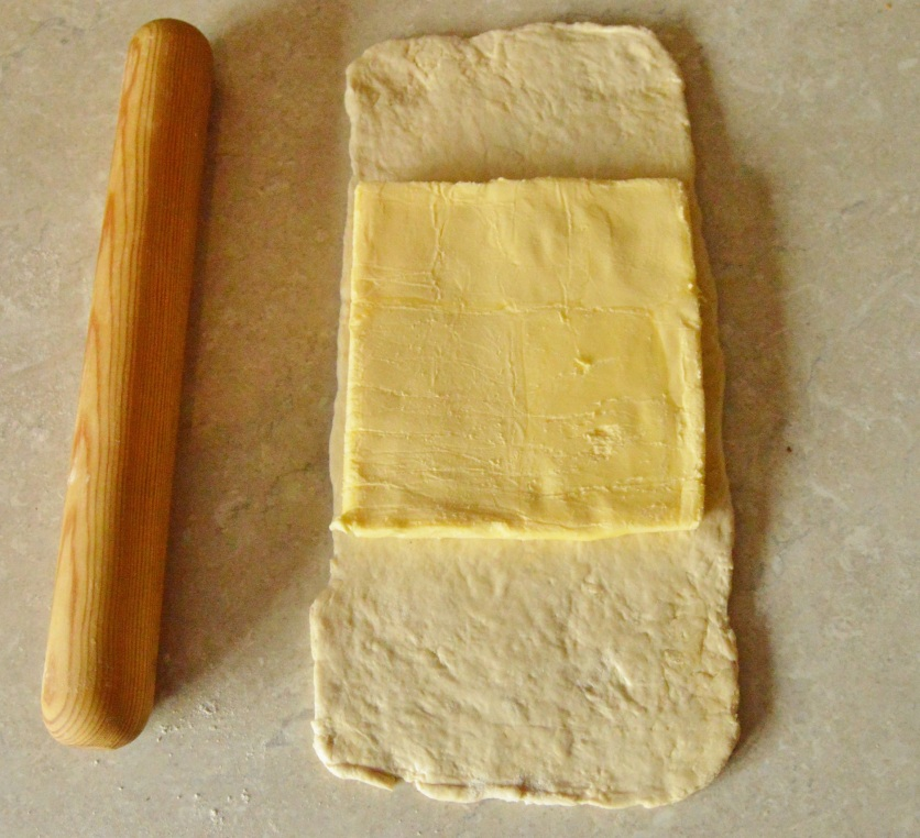 puff pastry: slab of butter placed on dough