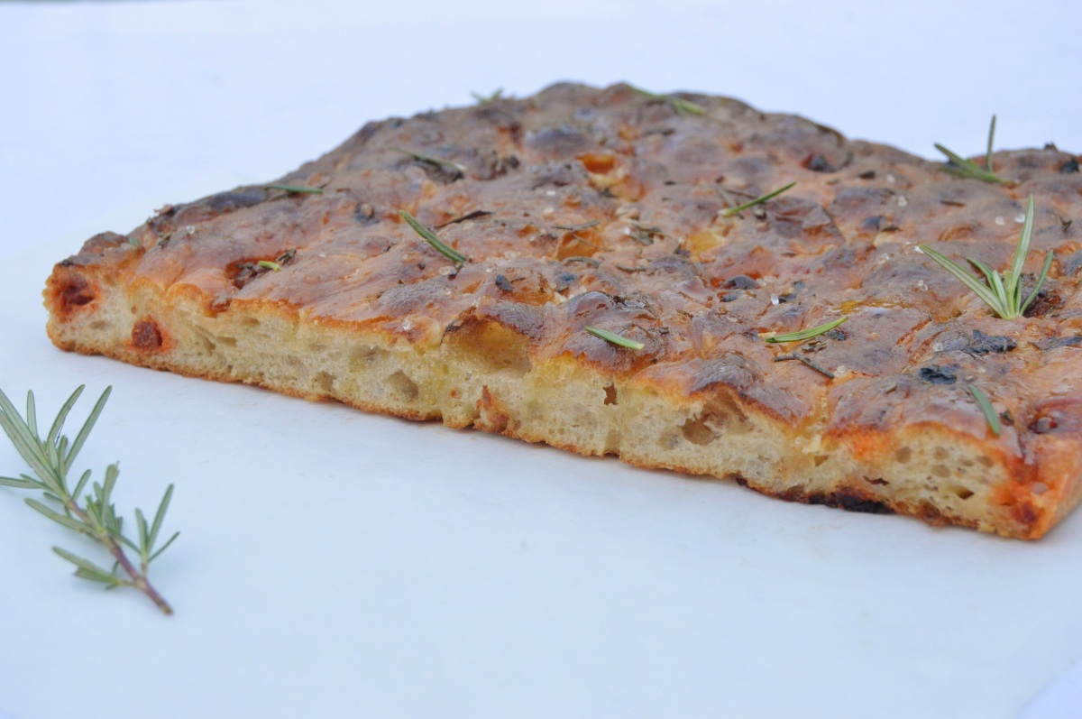 Roasted onion, chorizo & Parmesanfocaccia