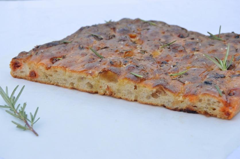 Onion, chorizo & Parmesan focaccia