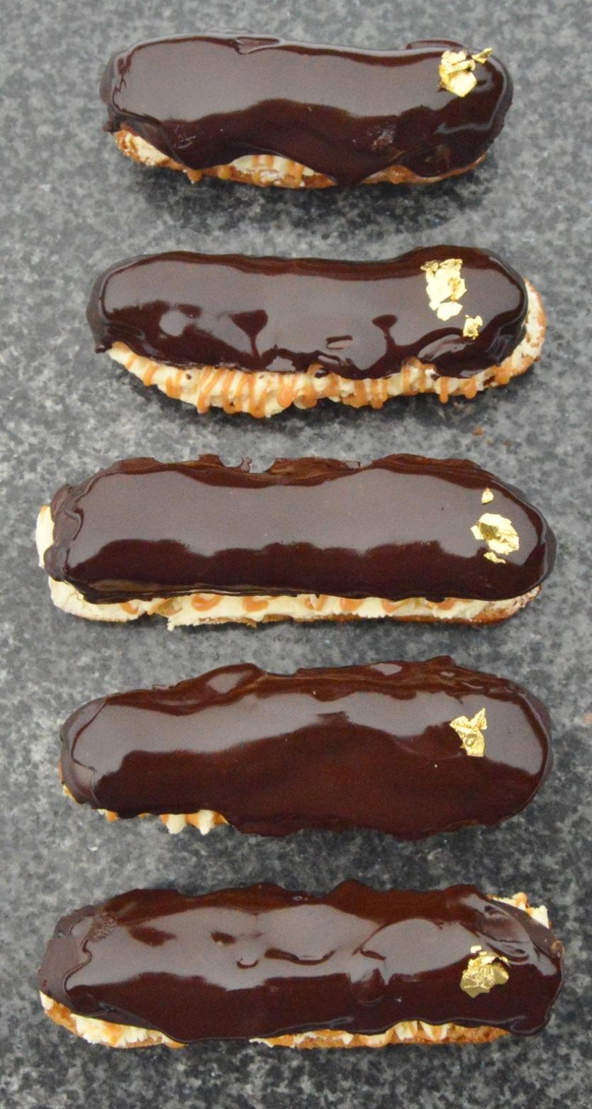 chocolate & salted caramel éclairs