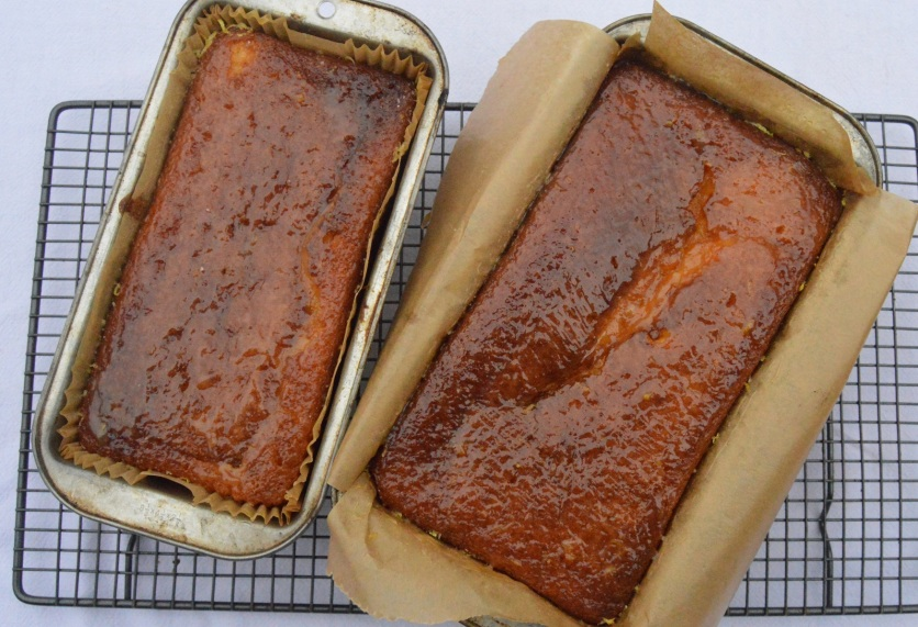 Drizzle sponges - glazed and cooling