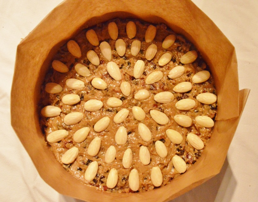 almonds placed over the mixture before baking