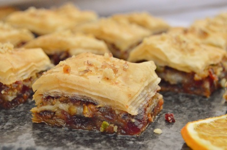 Spiced cranberry & orange baklava