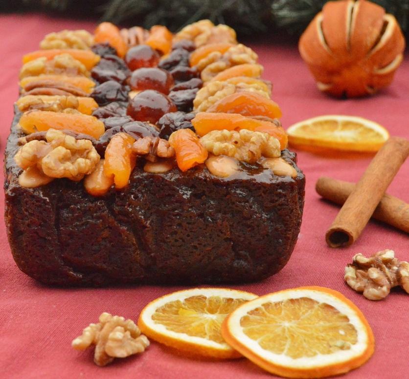 Glazed vegan fruit cake