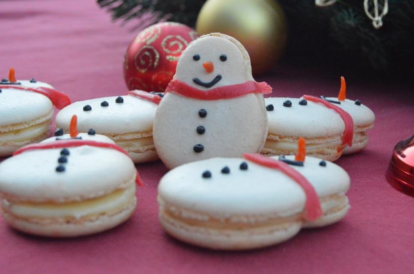 ginger macaron snowmen