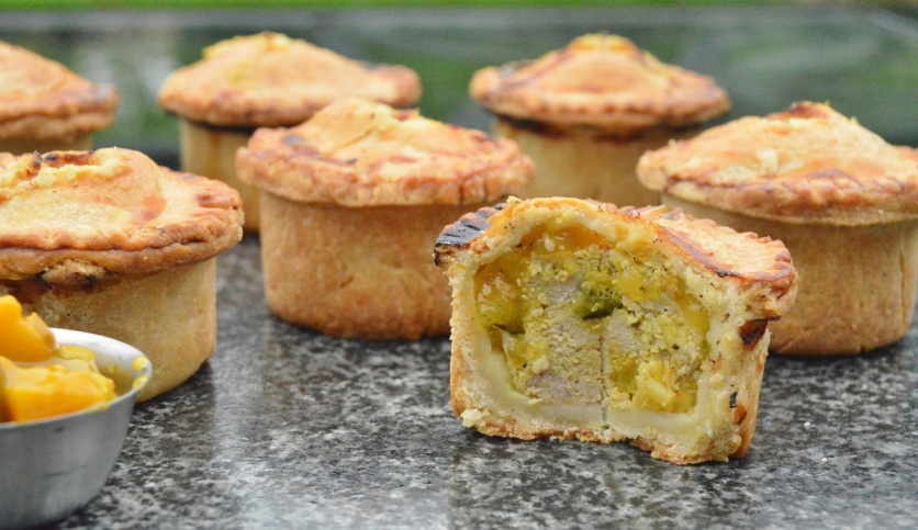 Stilton, pear & piccalilli pork pies