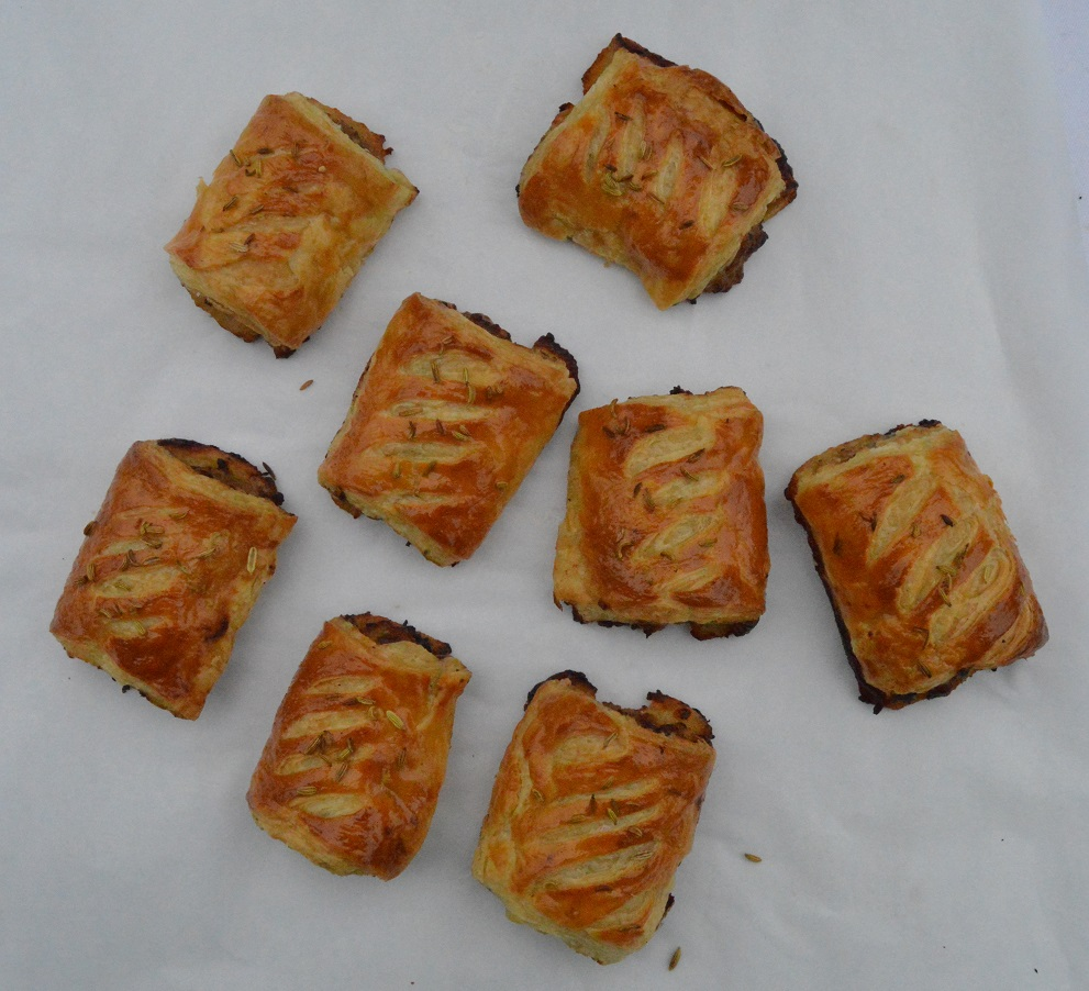 Chorizo & fennel seed sausage rolls in a paprika rough-puff pastry ...