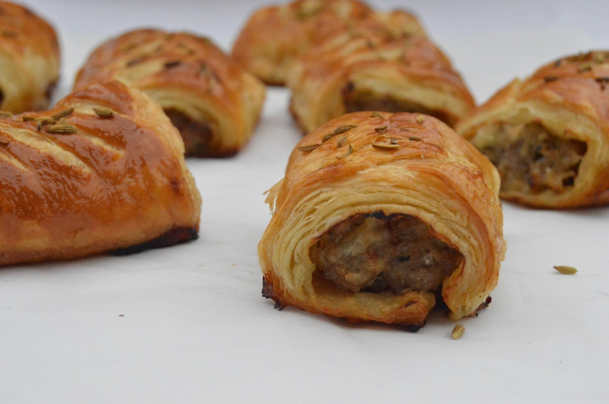 Chorizo & fennel sausage rolls in a spiced rough-puffpastry