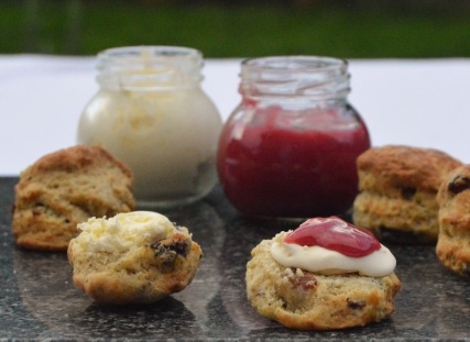 Earl Grey scones with raspberry curd