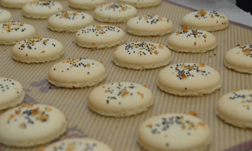 """the macaron shells baked: the horseradish on top """"toasts"""" nicely, intensifying the flavour"""