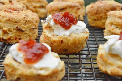 Tomato & cheese scones: served with herby cream cheese & tomato chutney