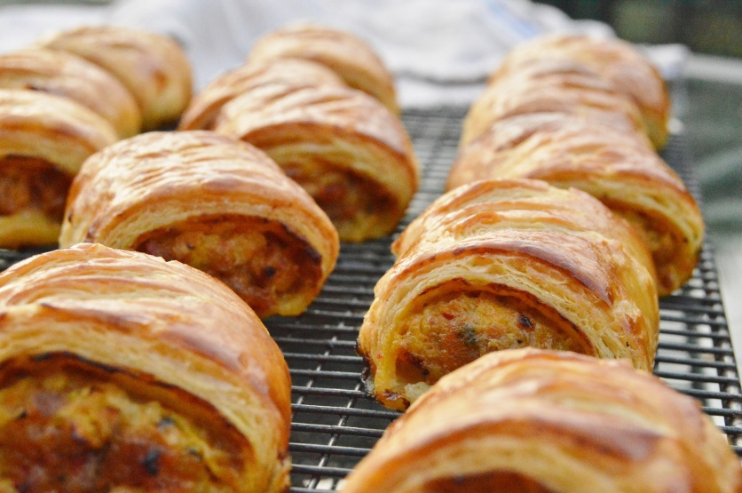 mustard & caramelised onion sausage rolls