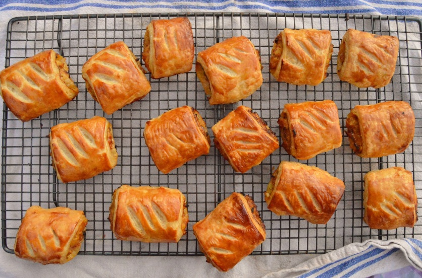 mustard & caramelised onion sausage rolls
